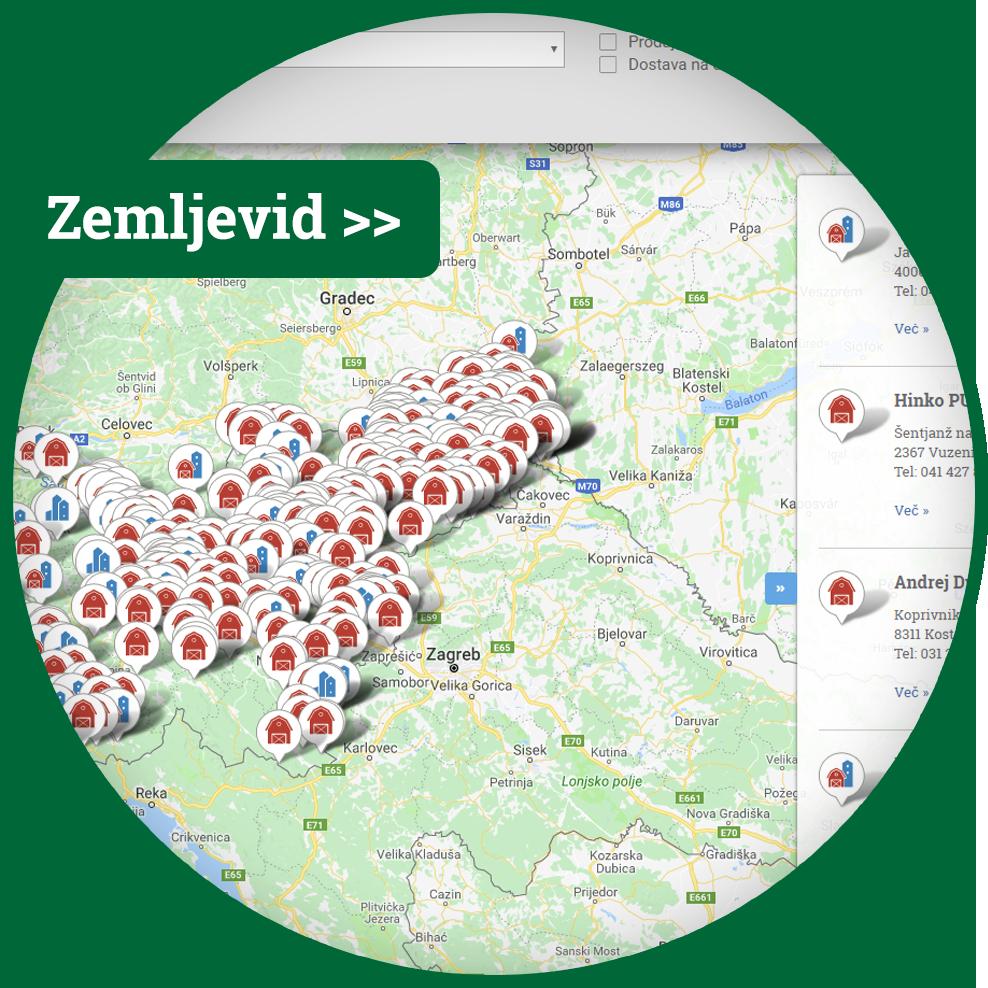Zemljevid pridelovalcev in predelovalcev Slovenije