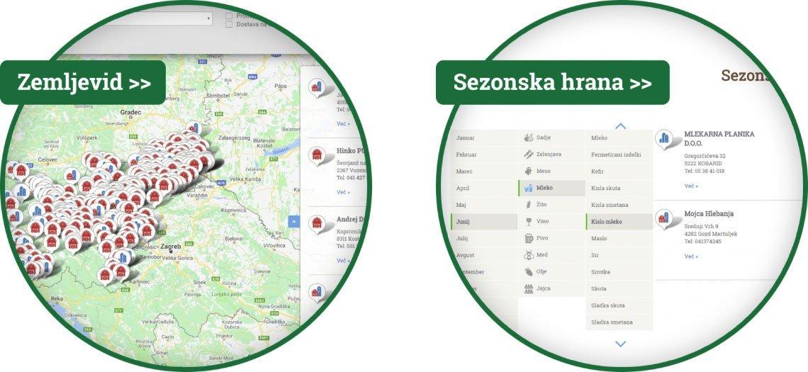 Zemljevid kmetij, slovenske kmetije, lokalni proizvajalci