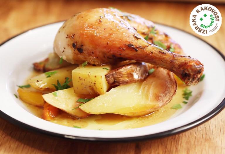 Pečen piščanec z zelišči in zelenjavo - video recept