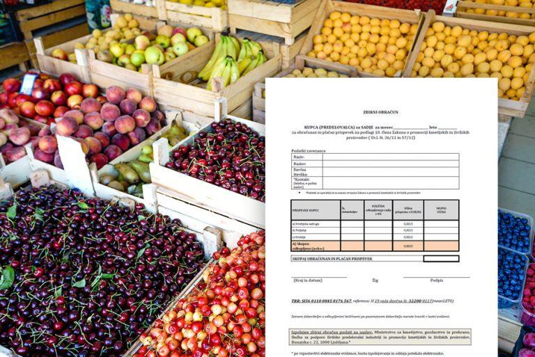 OBVESTILO - Sektor sadja mora plačevati prispevek za promocijo s 1.1.2019
