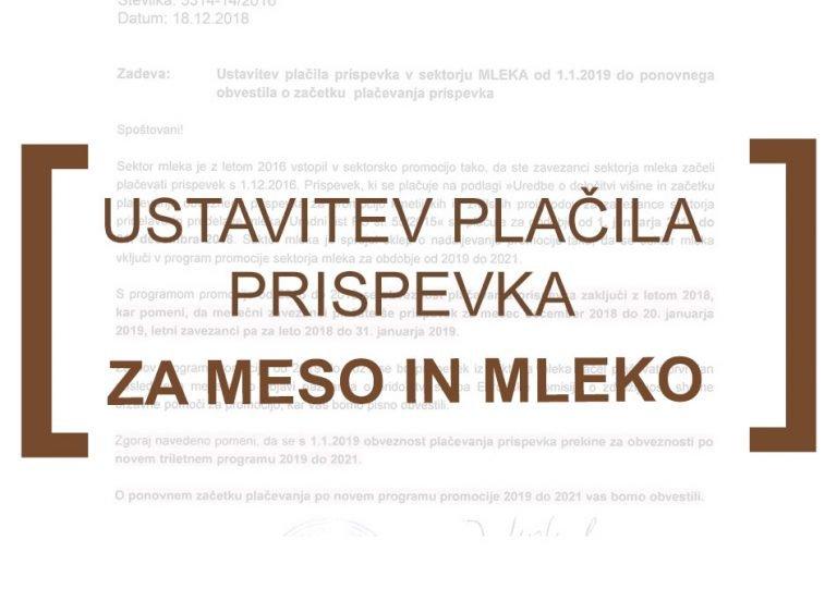 NOVO - ustavitev plačila prispevka za promocijo v sektorjih MESO in MLEKO