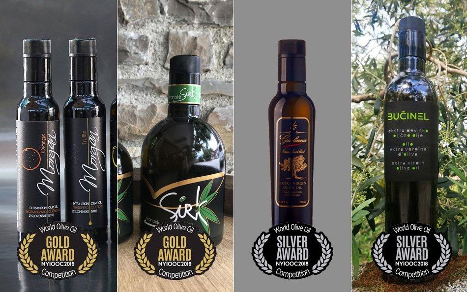Nagrajena oljčna olja - steklenice z oljčnim oljem