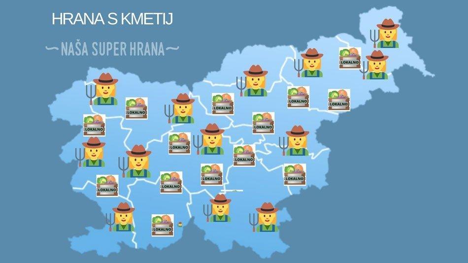 Zemljevid Slovenija - Hrana s kmetij