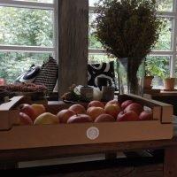 Škatla z jabolki na mizi
