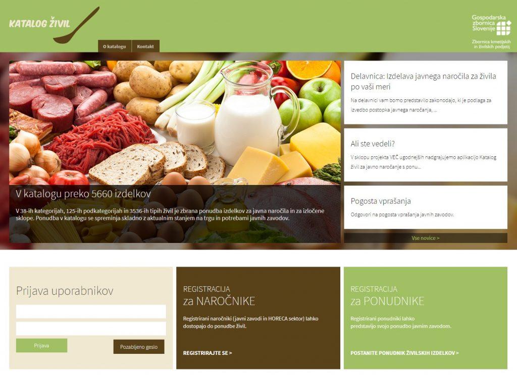 Zaslonska slika spletne strani Katalog živil
