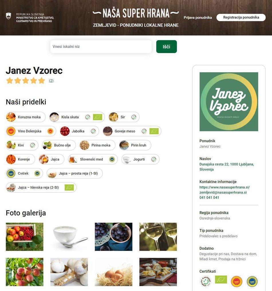 Zaslonska slika profila - Zemljevid ponudniki lokalne hrane