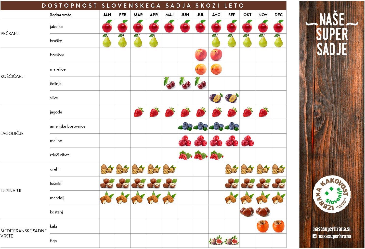 Tabela - dostopnost slovenskega sadja skozi leto