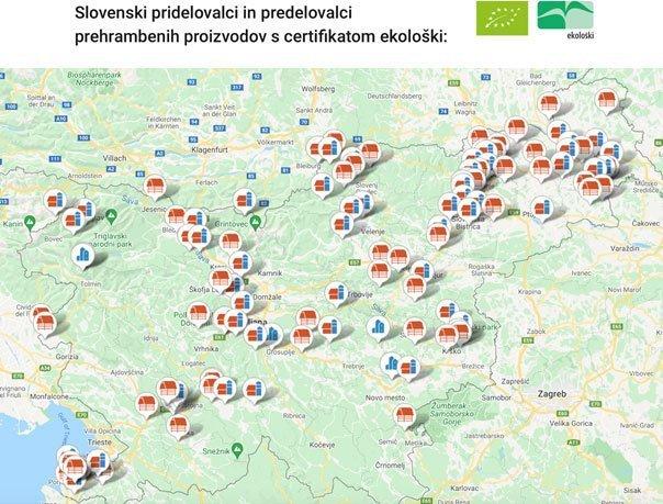 Zemljevid slovenskih pridelovalcev s certifikatom ekološki
