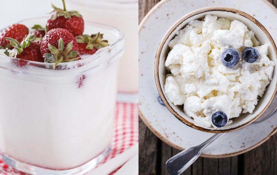 Jogurt v kozarcu in skuta v sklečki