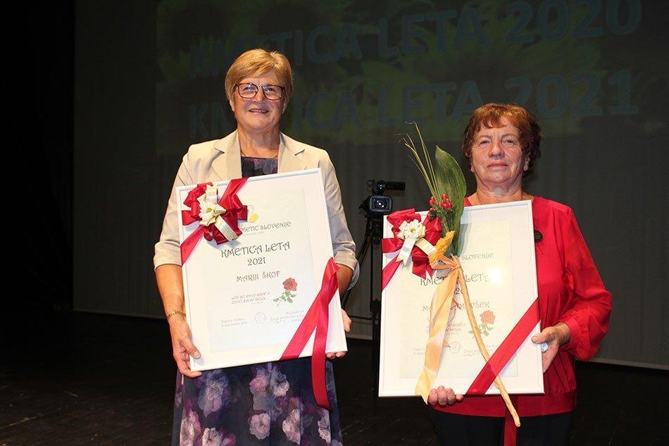 Kmetica leta 2021: Marija Škof (Metlika) in Kmetica leta 2020: Marija Lamovšek (Mirna vas)